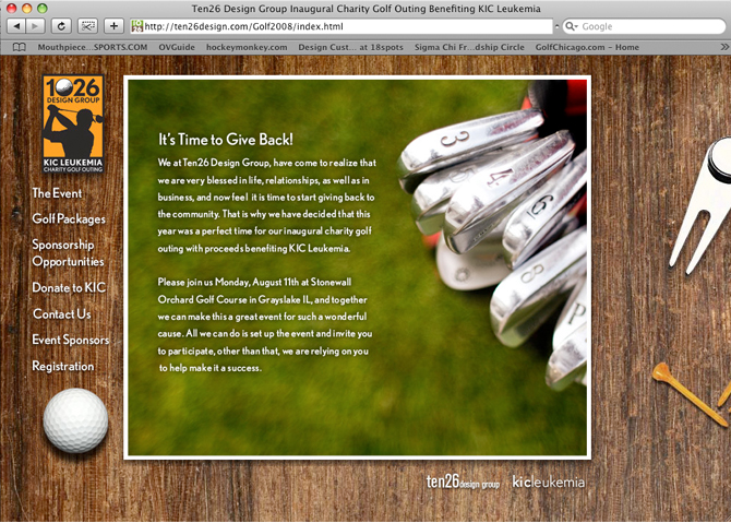 ten26 design charity golf outing website the website needed to give attendees the idea of what they could expect from the event it was important to inform